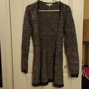 Blue, silver, and grey cardigan with waist tie